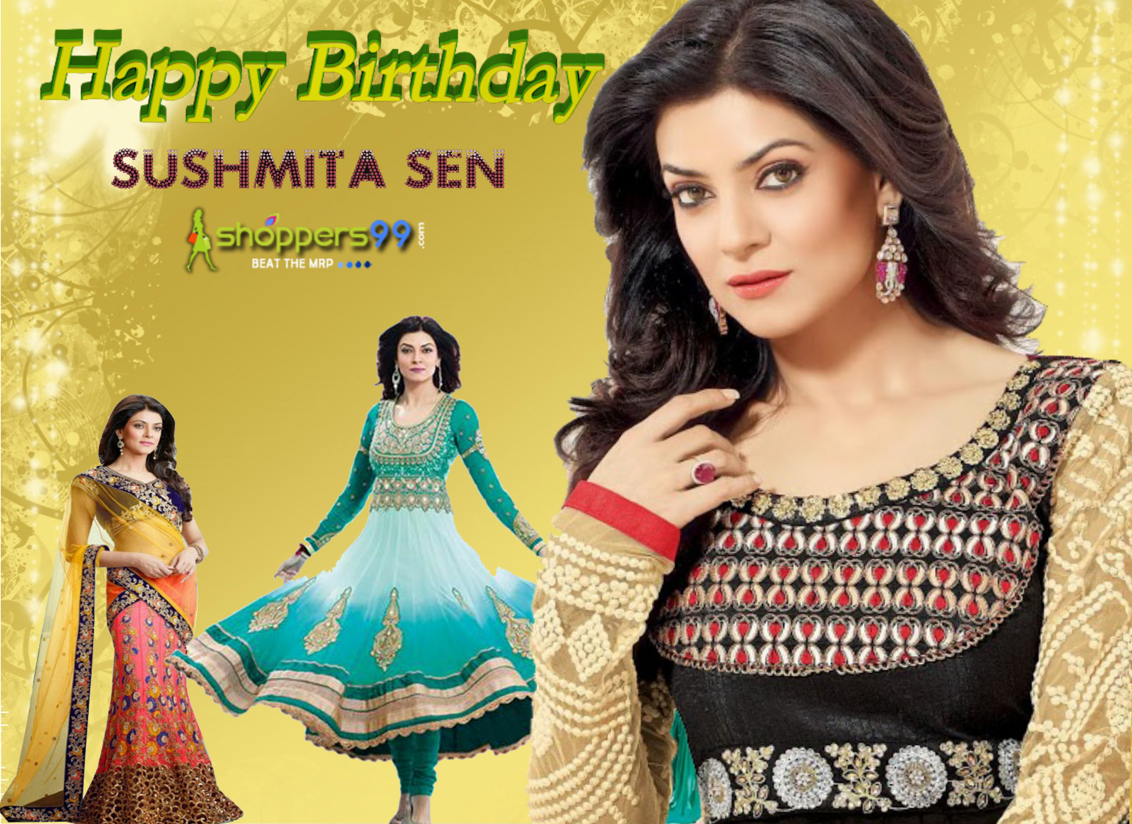 "Today is the Birthday of one of the #Bollywood beauty ""#SushmitaSen.  Sushmita Sen won the title of Femina Miss India in 1994  and She represented India at the 1994 Miss Universe Pageant, held in Manila, Philippines and won there.  Shopper99 wish her many-many happy returns of the day with best wishes.  #HappyBirthdaySushmitaSen"