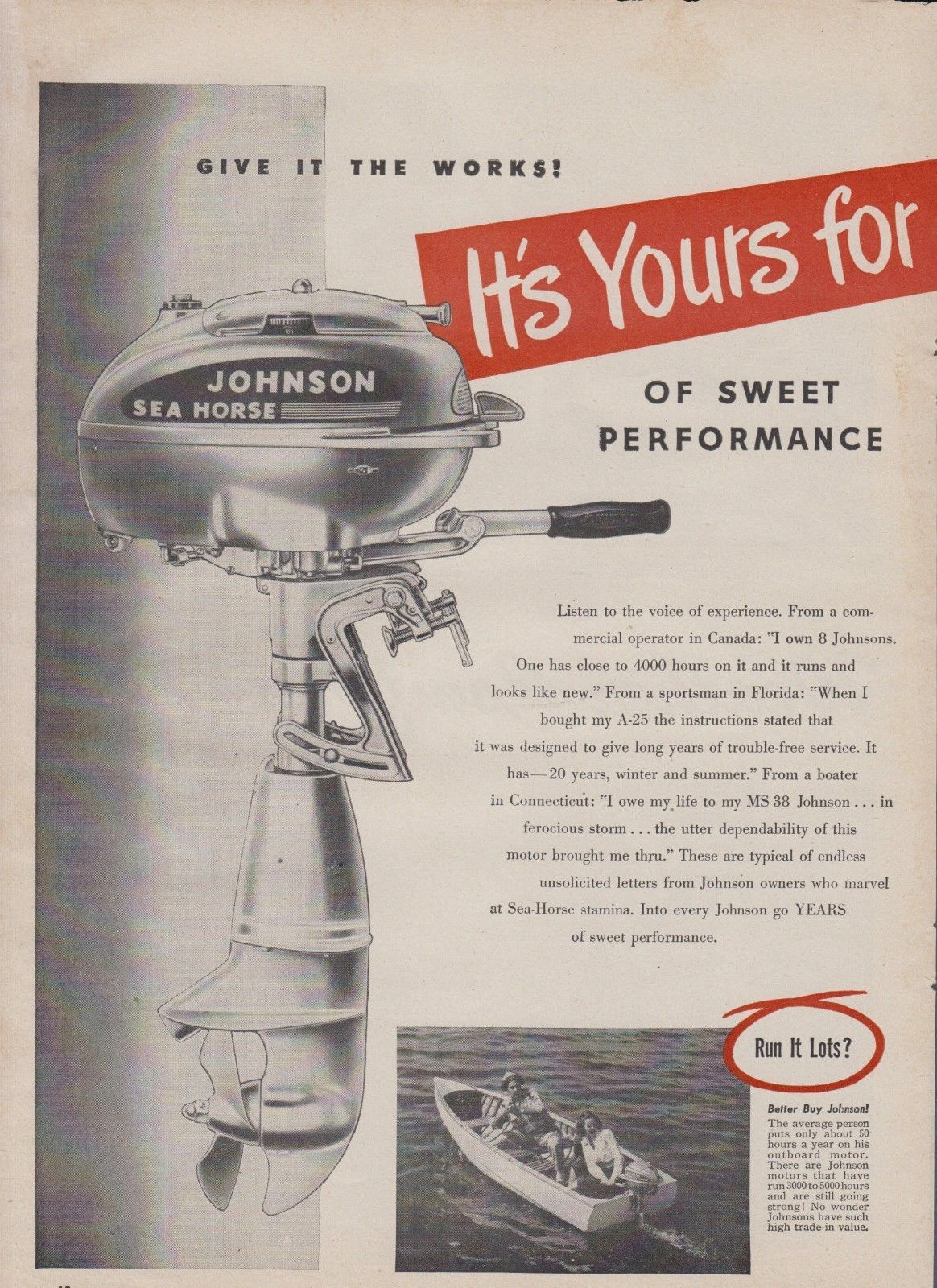 2-PAGE 1948 JOHNSON OUTBOARD MOTOR AD