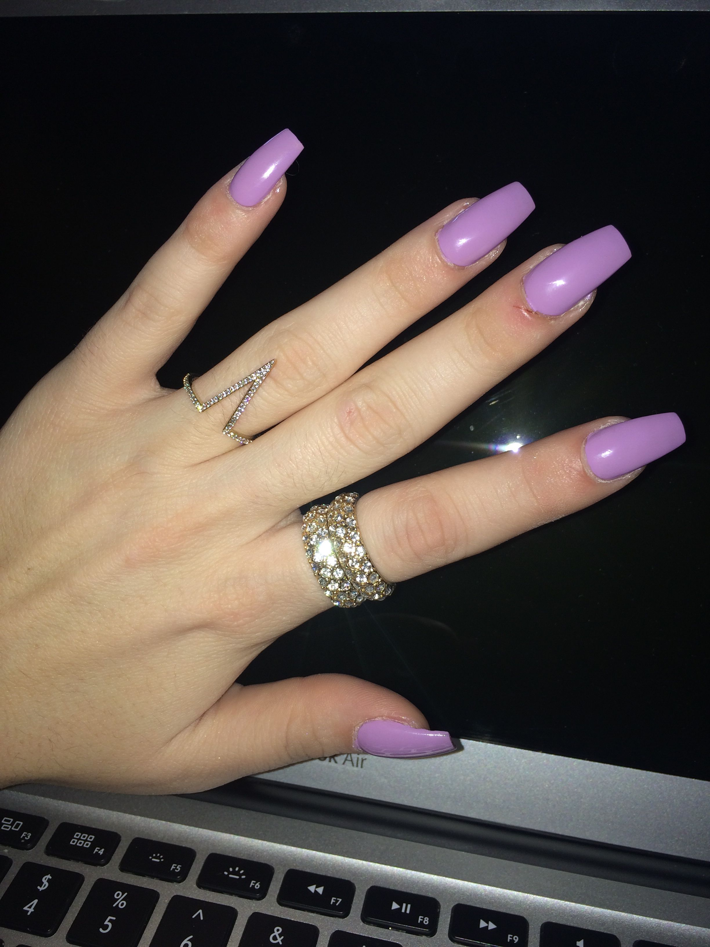 Lilac Coffin Nails Shape Long Pretty Shiny Spring Colors With Images Cute Nail Colors