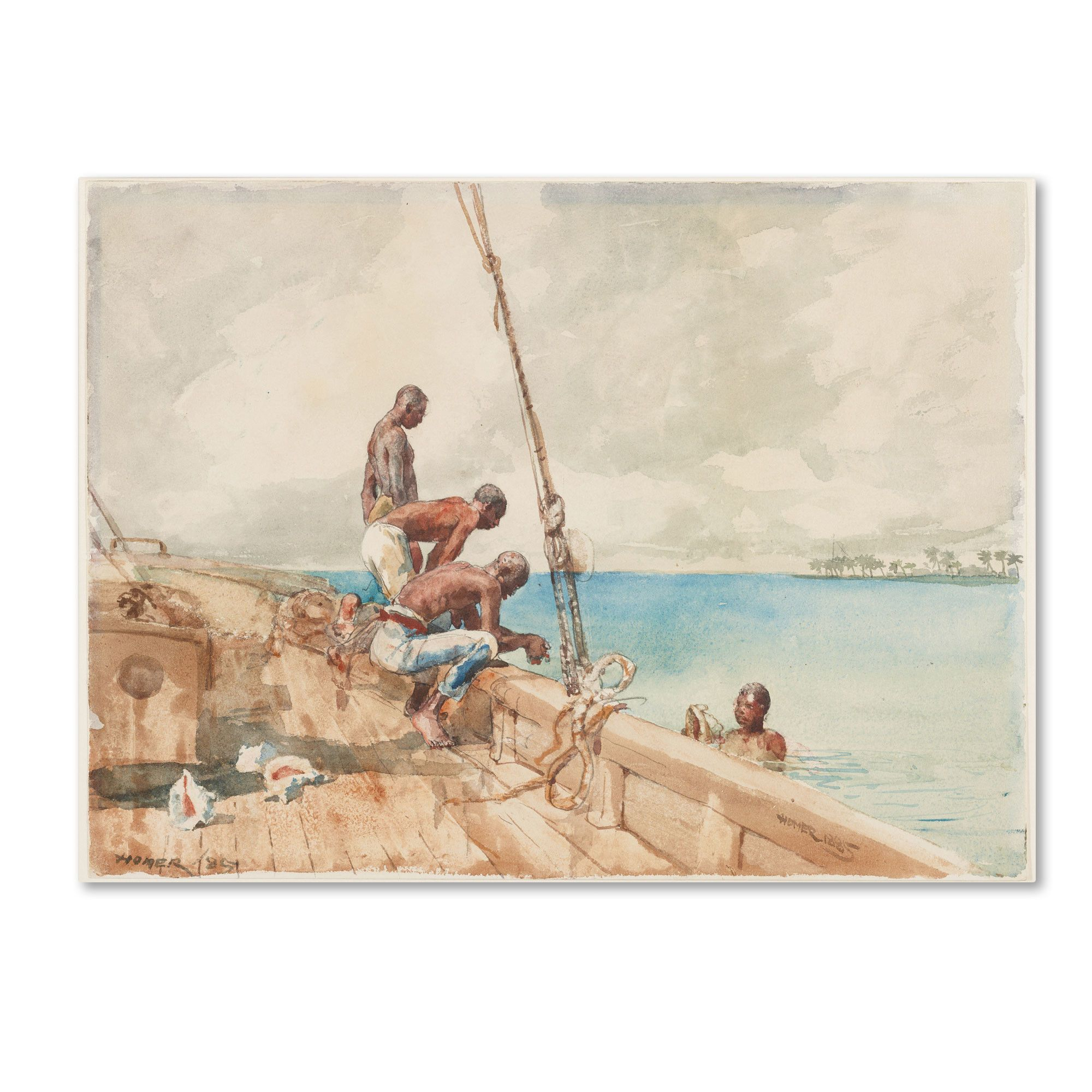'The Conch Divers 1885' by Winslow Homer Painting Print on Canvas