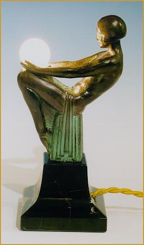 Max Le Verrier Art Deco Bronze Lampen Skulptur Songe
