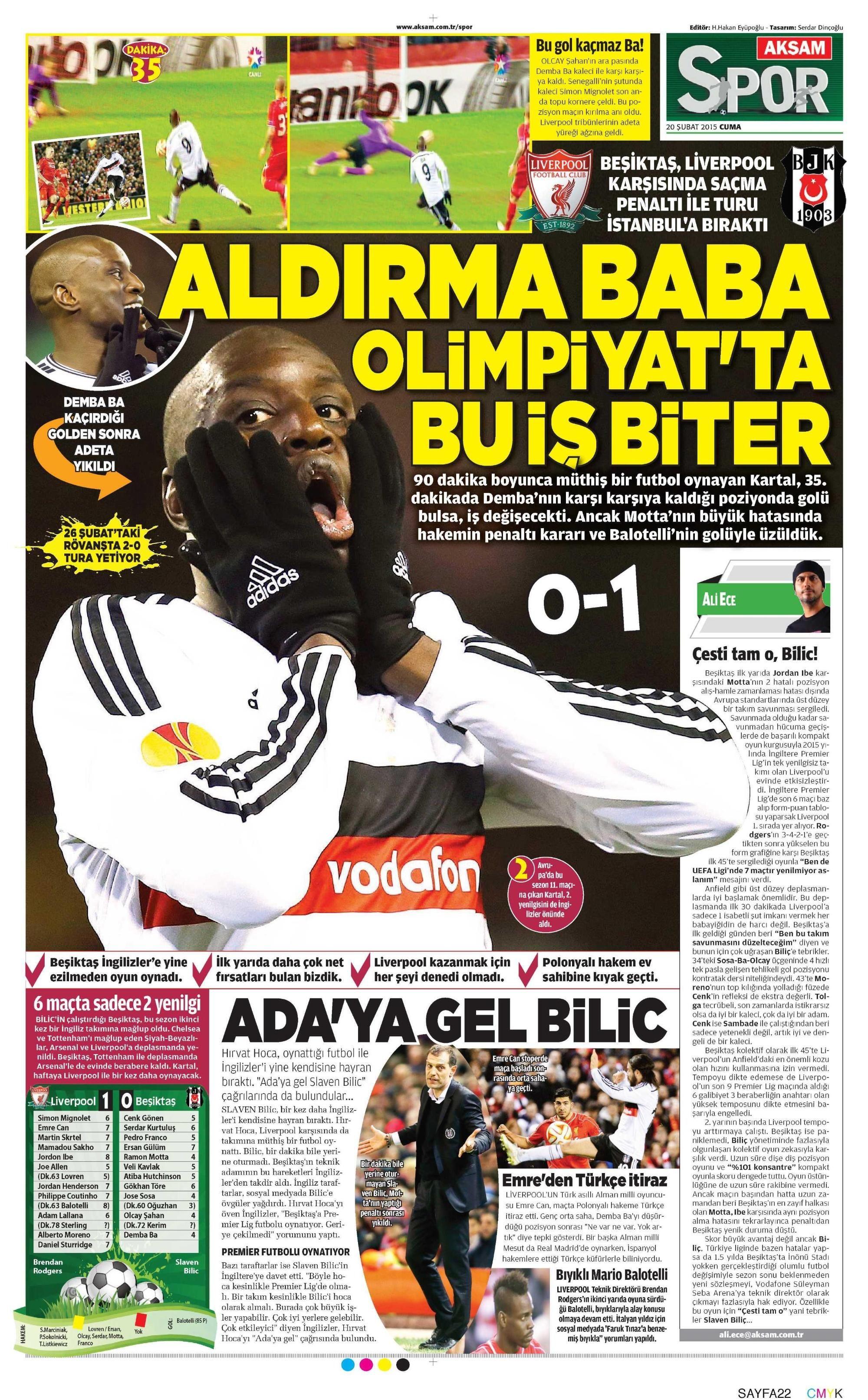 Beşiktaş Manşetleri(20/02/2015)