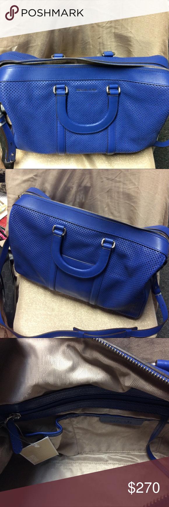 6cd3a6c7b4e9d4 Michael Kors BLUE LEATHER GYM BAG!! Michael Kors Libby Large Perforated  Leather Gym Bag