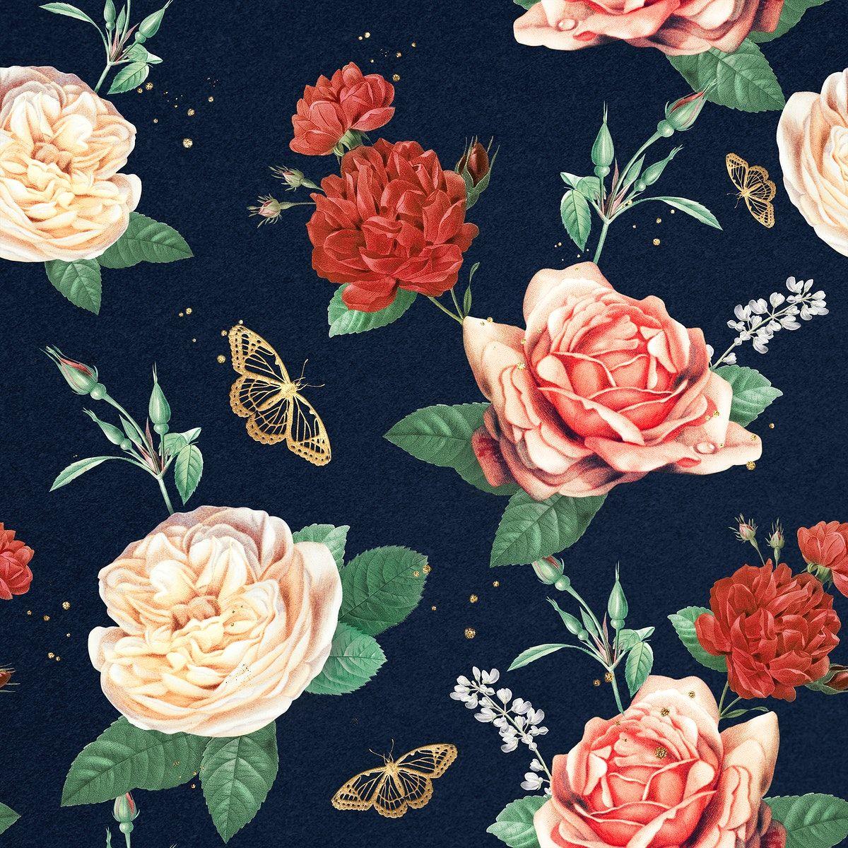 Download Premium Illustration Of Luxury Red Roses Psd Romantic Pattern In 2021 Flower Illustration Background Patterns Illustration
