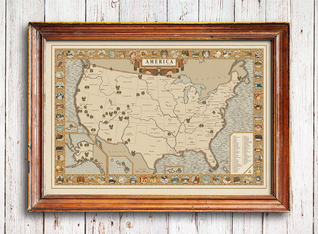 North And South America Blank Map Quiz%0A National Parks Map Vintage style America Map by NationalParkArt