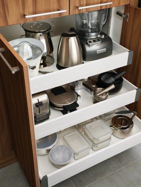 Cómo organizar los pequeños electrodomésticos en la cocina - Renovation Meuble Cuisine En Chene