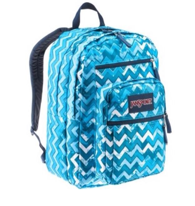 A cute blue chevron backpack! It's a Jansport big student ...