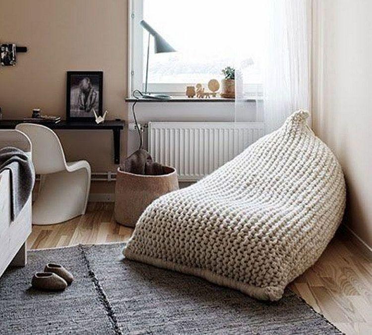 Chunky Merino Wool Light Grey Knit Adult Xl Bean Bag