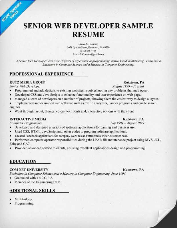 Resume Sample Senior Web Developer (http\/\/resumecompanion - senior web developer resume