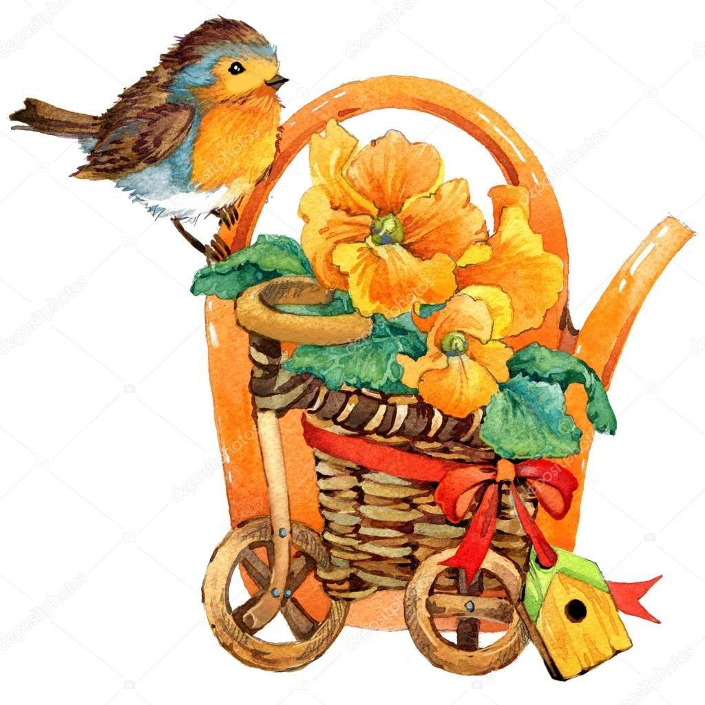 Скачать - Весенние цветы и птицы. Акварель — стоковое ...