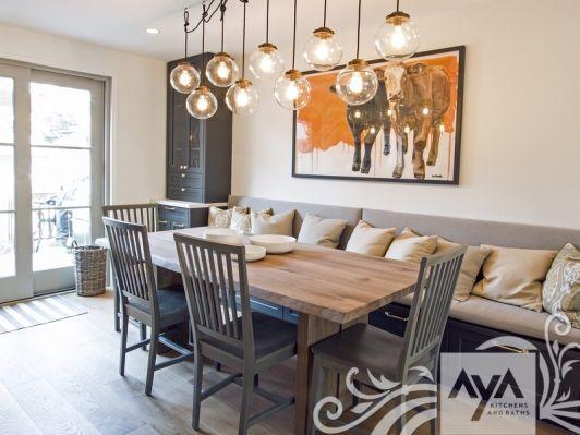 Smalldiningareainthekitchenwithdecorativepillowsand Stunning Booth Dining Room Table Design Ideas