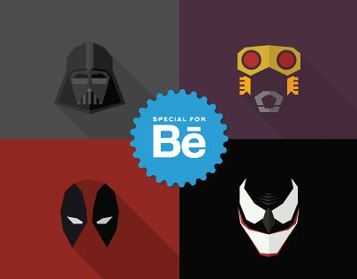 "Check out this @Behance project: ""Masks of SuperHeroes (Set #2)""…"