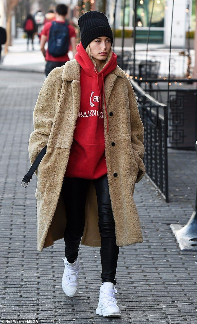 Brighten your day with a red hoodie by Balenciaga like Hailey