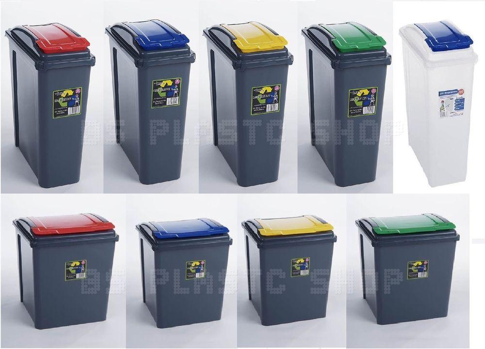 Plastic 25 50l Dustbin Garden Waste Rubbish Recycle Bin Kitchen Recycling Bins