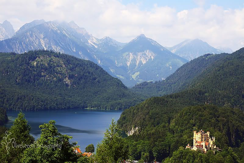 View of Hohenschwangau Castle from Neuschwanstein Castle - an impressive castle in its own right!