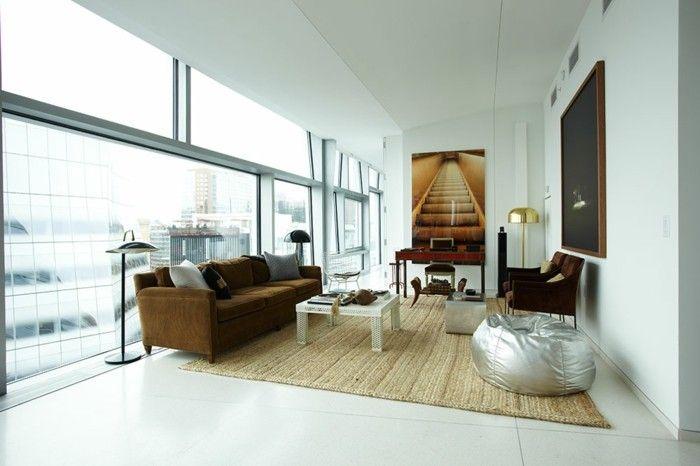 Sofas Sitzsack Wohnzimmer Einrichten Ideen Sisalteppich Braunes