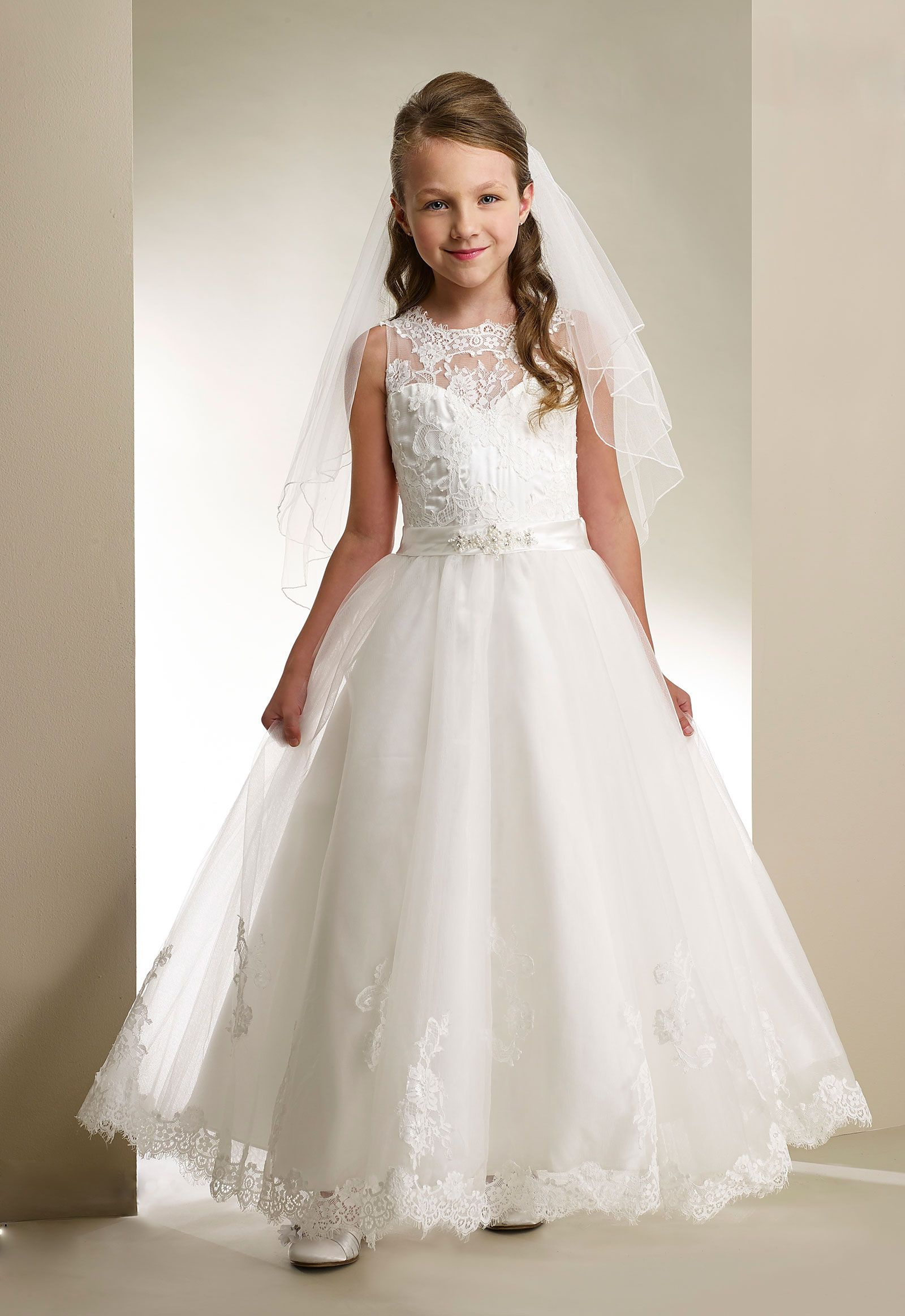 Couturedesigner girls dress style t sleeveless tulle and lace