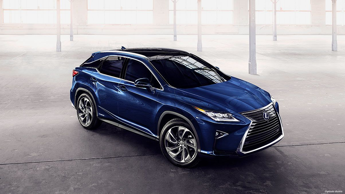 Exterior shot of the 2017 Lexus RX Hybrid shown in