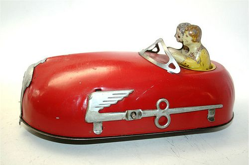 1930s tin litho bumper car wind-up toy