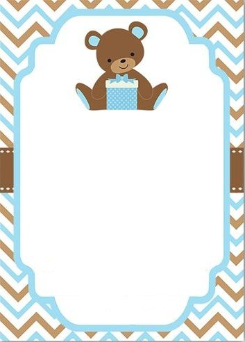 Invitacion Baby Shower niño Baby shower boy invitation bear ...
