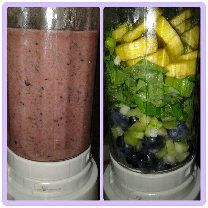 Brekkie smoothie banana blueberry spinach n celery