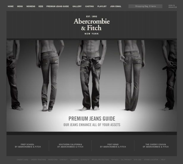1e045c1638c4 Abercrombie   Fitch Some clothes websites have animated promotional offer  which usually have arrows on the sides to guide the user to the next offer.