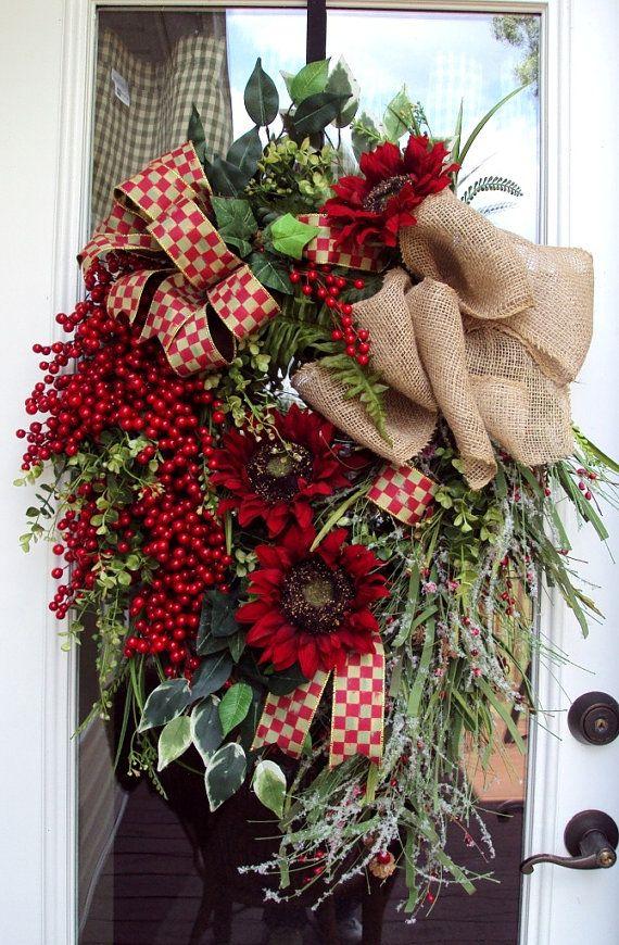 Door Wreath Country Home Rustic Fall Winter Berries Thanksgiving
