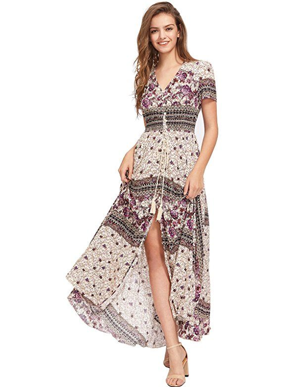 19ddda38c1 Milumia Women's Button Up Split Floral Print Flowy Party Maxi Dress (Large,  Black-Yellow) at Amazon Women's Clothing store: