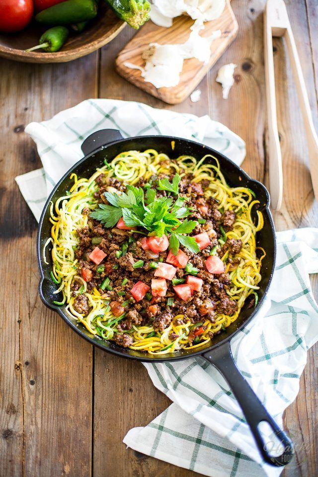 Ground Beef Over Zoodles Thehealthyfoodie Com Zoodle Recipes Recipes Spiralizer Recipes