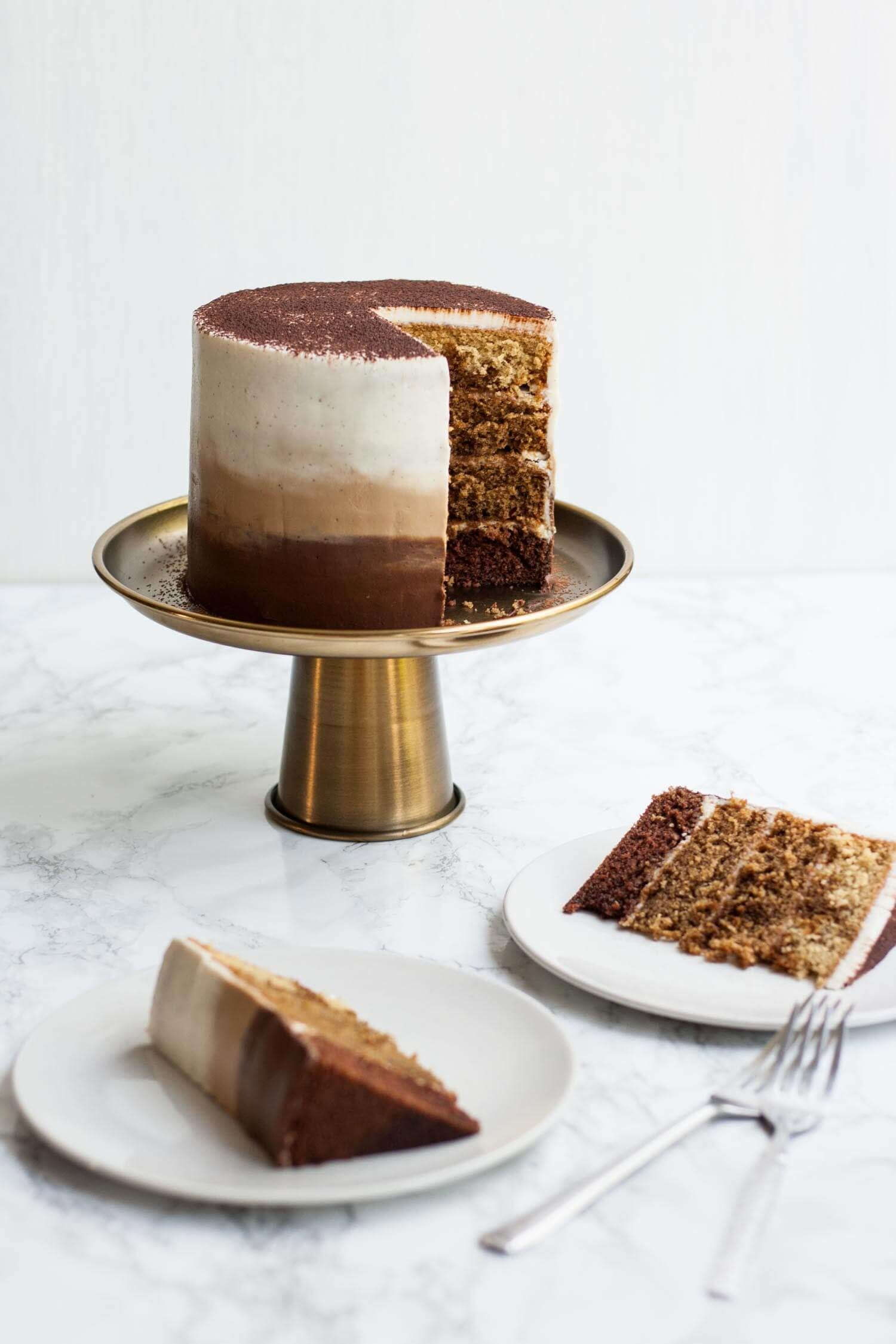 Tiramisu Layer Cake With Ombre Mascarpone Frosting Recipe Mascarpone Frosting Cake Food