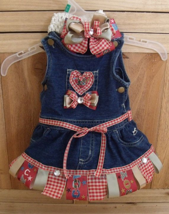 b08b3ec15743 Baby Girls Rodeo Ready Upcycled Denim Jumper by DressMeUp2Dream ...