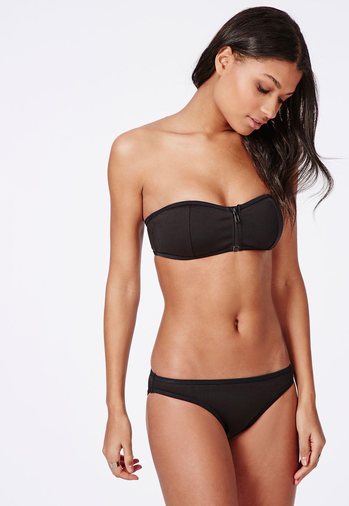 22b958cb90caa Missguided - Zip Front Neoprene Bandeau Bikini Top Black