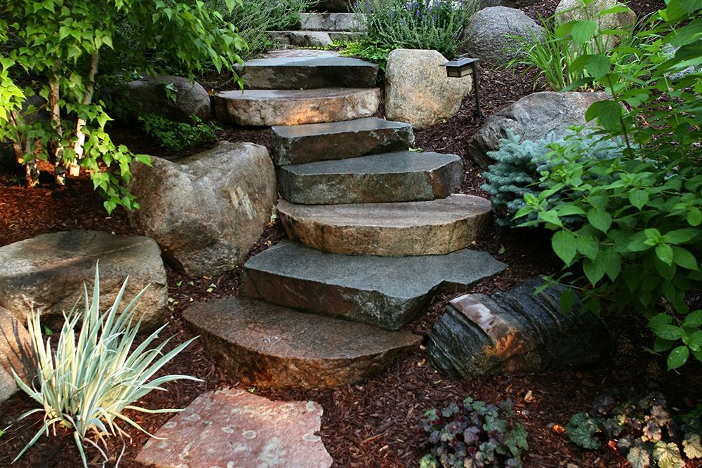 Maple Grove Boulder Steps Landscaping With Boulders Landscaping With Rocks Landscape Design