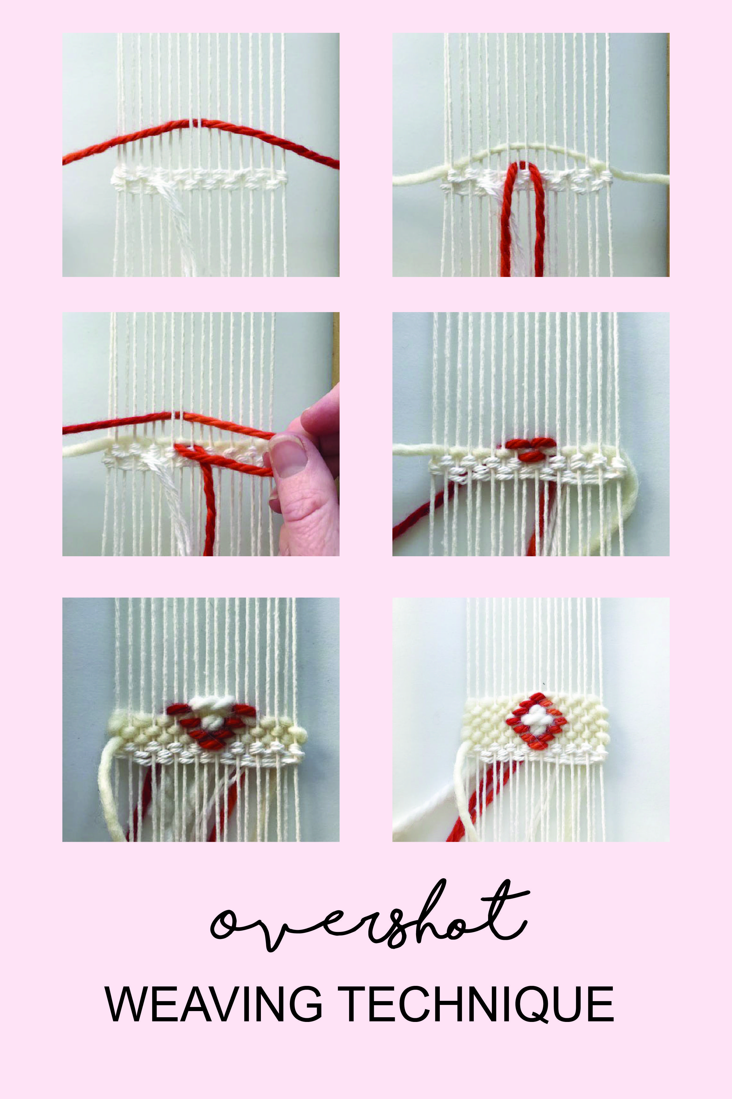 Create shapes such as diamonds and triangles in your woven wall hanging using this weaving technique called overshot.