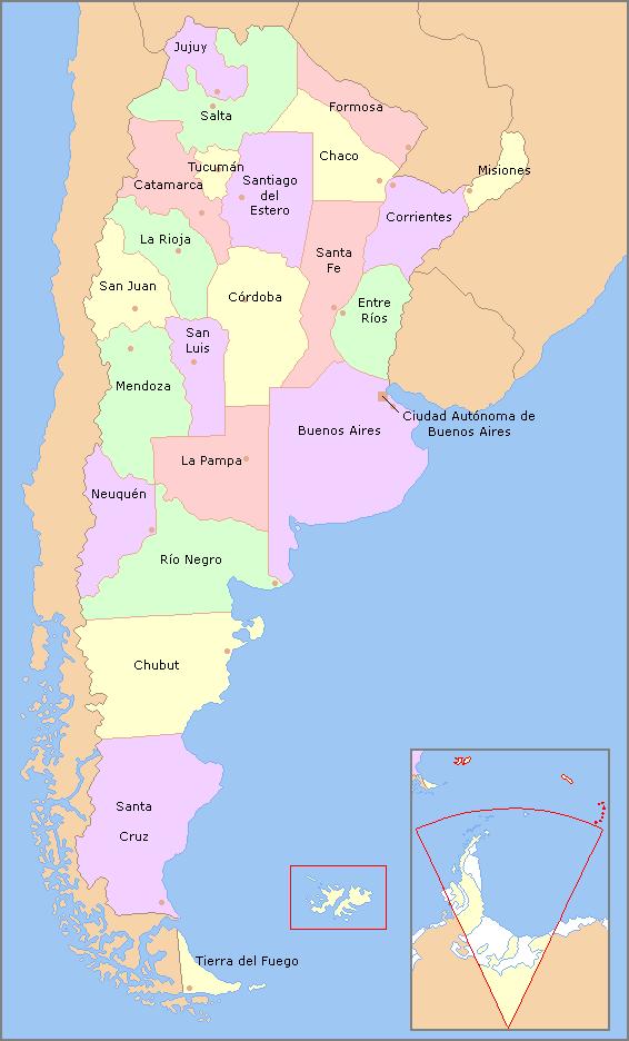 Una mapa de Argentina La capital de Argentina es Buenos Aires D