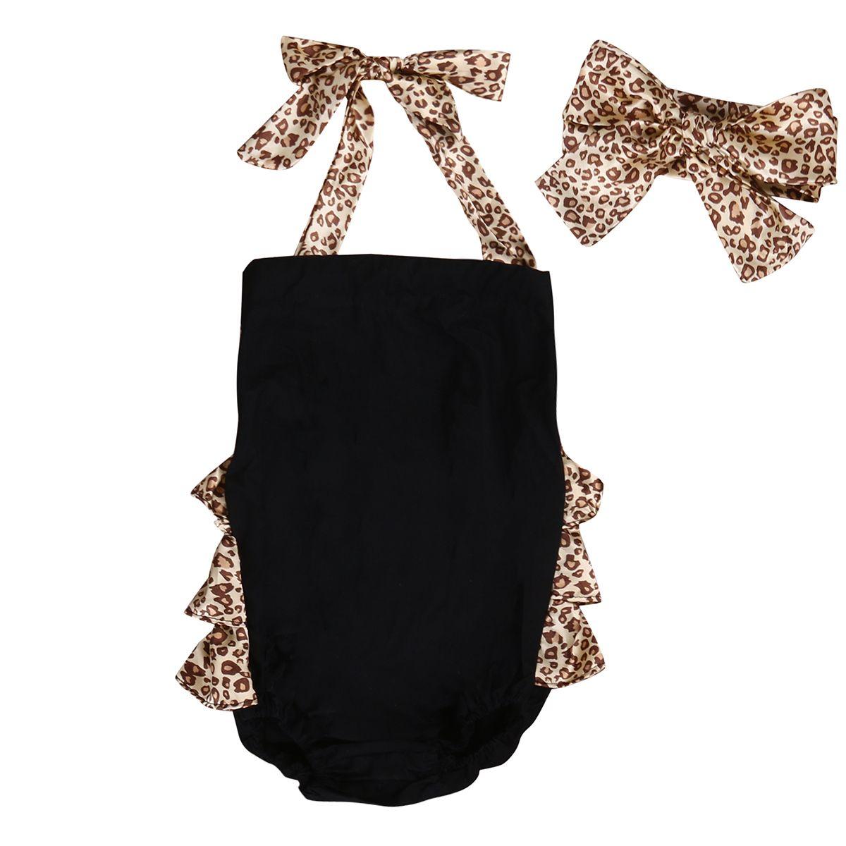 패션 신생아 아기 소녀 옷 세트 러플 스커트 Babysuit 장난 꾸러기 + 표범 머리띠 2 개 Bebek Giyim 복장 아이 Sunsuit
