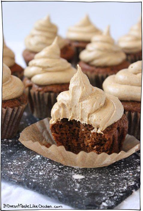 Vegan Gingerbread Cupcakes Vegan Gingerbread Cupcakes with Salted Caramel Gingerbread Frosting!