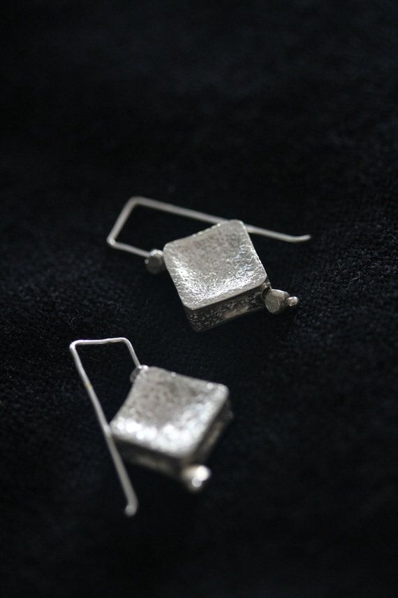 Concave tile silver hook earring by Storiesofsilversilk on Etsy