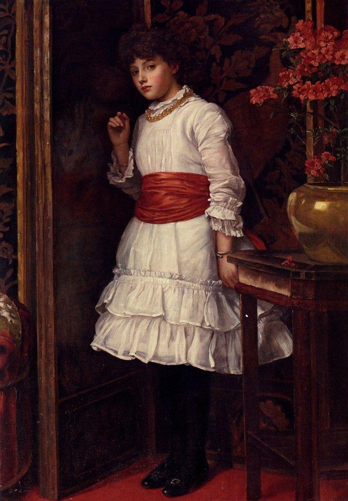"pintoras: "" Maria Brooks (English, 1837 - 1913): Matilda in the Red Sash (via The Athenaeum) "" [ Mathilde et sa ceinture rouge ] #englishdresses1880"