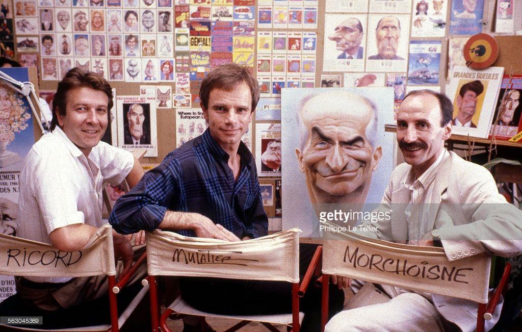 The French cartoonists Patrice Ricord, Jean Mulatier, Jean Claude Morchoisne, 1986 Paris, France.