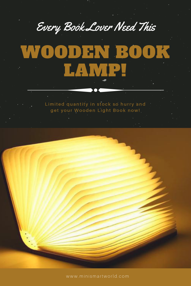 Folding Wooden Book Lamp Book Lamp Wooden Books Book Lights