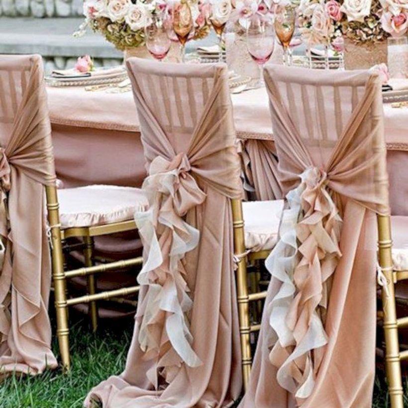 52 schöne Hochzeit Stuhl Deko-Ideen für die Zeremonie   – ผูกผ้า