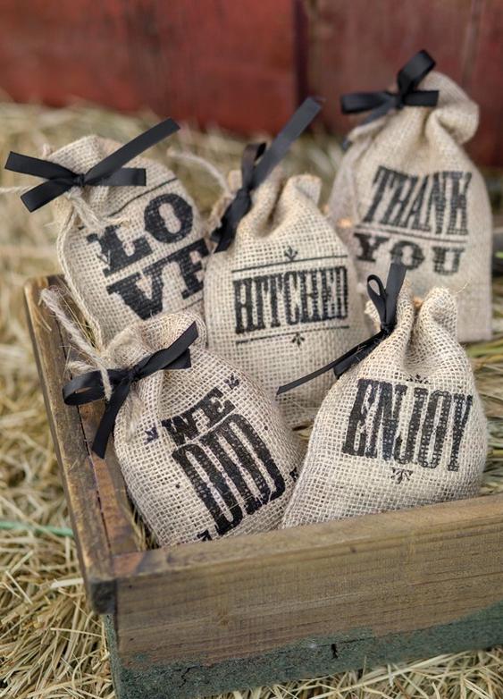 Burlap Favor Bags Themed Sayings