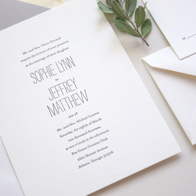 LETTERPRESS SAMPLE | Minimalist Chic Suite | letterpress wedding ...