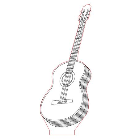 Guitar 3d Illusion Lamp Vector File For Laser And Cnc 3bee Studio 3d Illusion Lamp 3d Illusions 3d Optical Illusions
