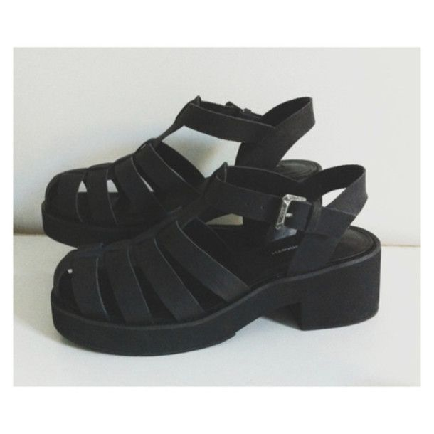 shoes black straps buckle jellies sandal platform shoes open toed opentoed