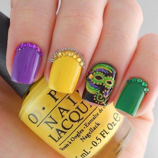31 Fantastic Mardi Gras Nail Art Ideas ... | Mardi gras, Manicure ...