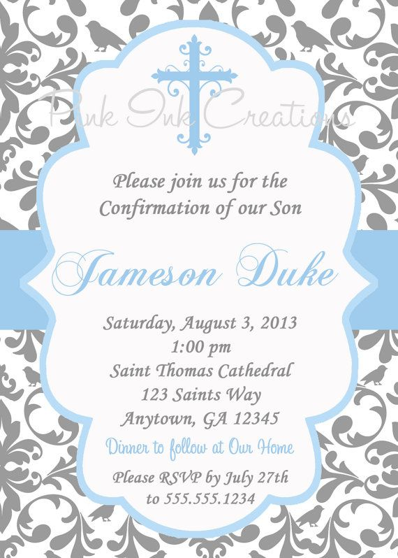 Boys baptism invitation damask baby dedication first for Free printable confirmation invitations template
