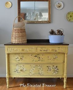 a chippy mustard dresser, painted furniture