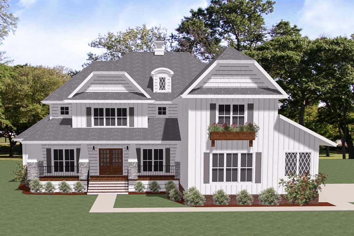 Plan 46379LA: Exclusive New American House Plan with Side ... on house plans with rear entry garage, house plans with interior entry garage, house with garage on side, house plans with front screened porch, house plans with front living room, house plans with back entry garage, house plans with front fireplace,
